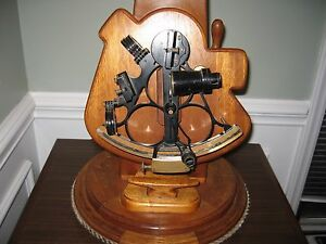 Antique Wilfred O White S Marine Sextant Mounted On Custom Made Mahogany Lamp