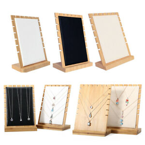 3 Pcs Wood Necklace Pendant Jewelry Display Storage Board Black white beige