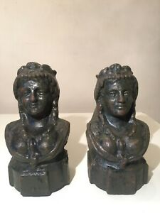 Pair Of Antique Cast Iron C 1900 French Andirons Firedogs Irons Women