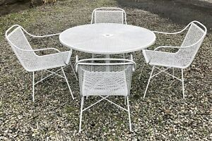 Vintage Mid Century Wrought Iron Patio Set Dining Table 4 Chairs