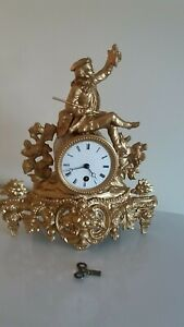 Antique French Gilt Ornate Mantel Clock Timepiece Only With Tic Tac Movement