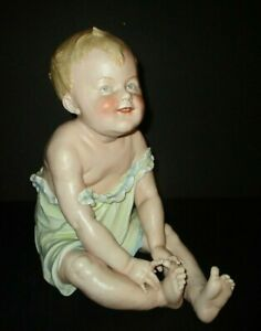 Antique Gebruder Heubach Piano Baby Large Boy Touching Toes Bisque Porcelain