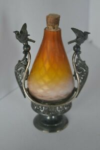 Vintage Art Glass Decanter Bottle Perfume On Metal Stand