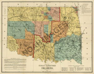 Map Of Indian Territory Of Oklahoma C1890 30x24