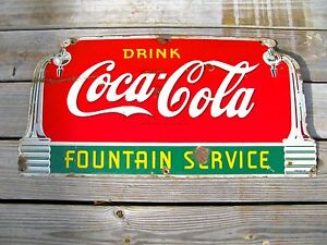 VINTAGE 1941 ORIGINAL PORCELAIN COCA COLA FOUNTAIN SERVICE SIGN RARE