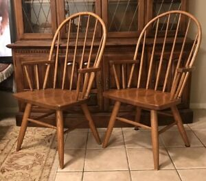 Antique Arm Chairs Primitive Chair Set Old Wood Furniture Usa Country Oak Pair