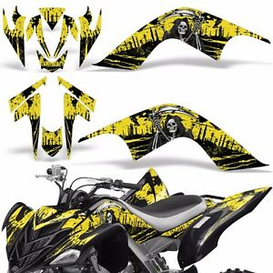 Decal Graphic Kit Yamaha Raptor 700 ATV Quad Decal Wrap 700R Deco 07-12 REAP YLW