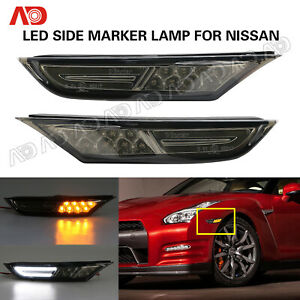 Smoked Led Side Fender Marker Light For 07 18 Nissan Gt r R35 White Amber 2pcs