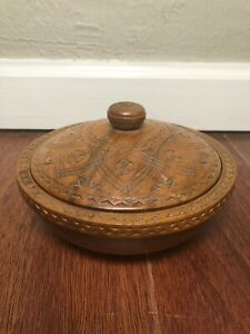 Traditional Hand Carved Wood Bowl With Lid Made In Yugoslavia