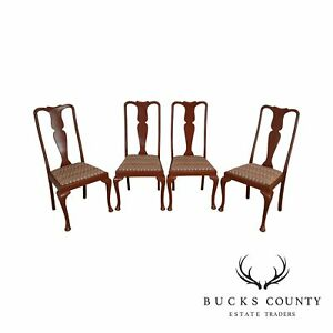 Red Painted Vintage Set 4 Queen Anne Style Dining Chairs