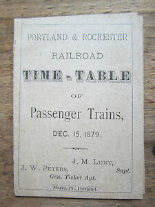 Antique Book Pamphlet Maine Time Table 1879 Portland Rochester Railroad