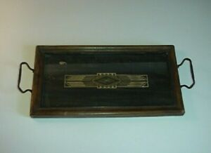 Vintage Art Deco Wood Glass Tray