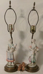 Pair Antique Porcelain Brass Figural Table Lamps Lady W Water Jug Lady W Baby
