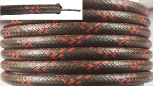 Cloth Spark Plug Wire Black W Red Classic Antique Car Motorcycle 25ft