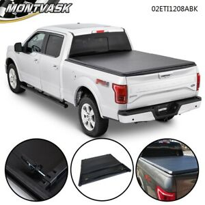 Soft Lock Four Fold Tonneau Cover For 2004 2008 Ford F 150 8ft Long Bed Black