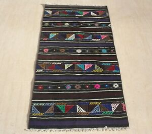 Anatolian Turkish Kilim Runner Rug Hand Woven Natural Wool 28 X 57