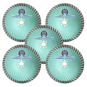 5pk 5 Rogue X Turbo Diamond Blade Wet dry Cut Granite Marble stone masonry