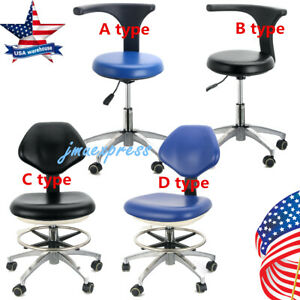 Us Dental Medical Lab Rolling Stools Adjustable Height Mobile Chair Pu Leather