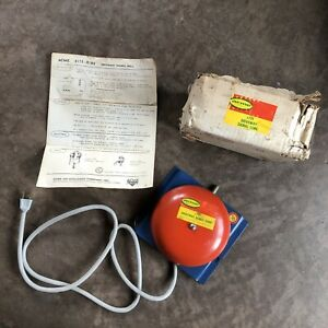 Vtg Nos Acme Driveway Signal Gong Service Gas Station Red Bell Ul Original Box