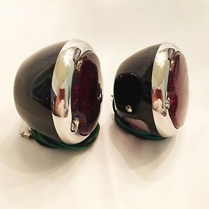 Hot Rod 1933 36 Ford Tail Lights Black With S s Bezels 1 Pair