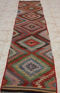 Kilim Runner Rug 2x10 Turkish Kilim Runner Rug 2x10 Geometric Rug 28 X124