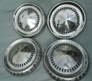 1960 S Mercury Ford 9 5 Dog Dish Poverty Hubcaps Wheels Oem Vintage Set Of 4