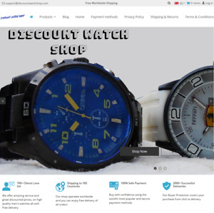 Mens Discount Watch Shop Dropshipping Internet Business Website For Sale
