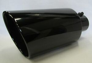 Dodge Gloss Black 304 Stainless Diesel Exhaust Tip 5 Inlet 8 Outlet 18 L