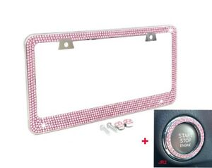 Bling Pink Crystal Rhinestone Metal License Plate Frame Pink Ring Emblem Caps