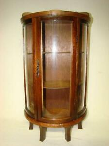 Vintage Wood Stand Hang Curio Cabinet Display Shelf Table Top Or Curved Glass