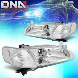 For 1998 2000 Toyota Corolla Oe Style Chrome Housing Clear Side Headlight Lamps