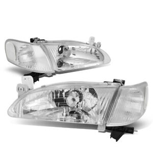 Fit 98 00 Toyota Corolla Chrome Housing Clear Corner Front Bumper Headlight Lamp