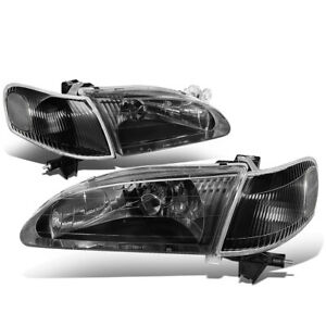 Fit 98 00 Toyota Corolla Black Housing Clear Corner Front Bumper Headlight Lamp