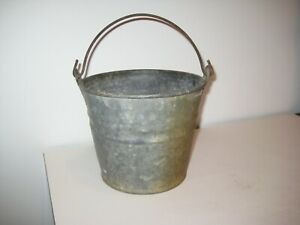 Vintage Galvanized Fireplace Coal Ash Flower Water Garden Bucket Pail Metal Can