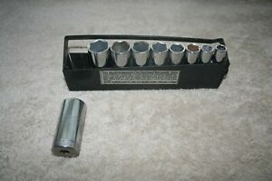 Vintage Craftsman 6 Point Deep Well Socket Set Sae 3 8 Drive Metal Tray Usa