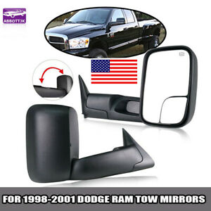 For 1998 2001 Dodge Ram 1500 98 02 2500 3500 Fold Power Heated Side Tow Mirrors