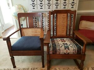 Antique Mission Craftsman Tiger Oak Rocker Rocking Chair Quarter Sawn