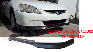 Type R Style Front Lip For 2003 2005 Honda Accord Sedan Unpainted Polyproplyene