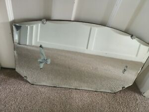 Vintage 30s 40s Art Deco Bevel Edged Frameless Wall Mirror With Original Chain
