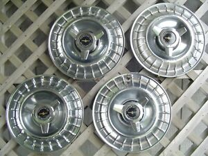 1963 63 Ford Thunderbird T Bird Hubcaps Wheel Covers Center Cap Vint