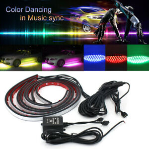 4pcs 8 Color Rgb Led Strip Under Car Tube Underglow Underbody System Neon Lights