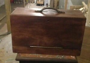 Antique Wooden Tool Chest With Sliding Draws