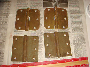4 Vintage Brass Plated Button Hinges 3 1 2 2 Pairs Very Nice Old Hardware