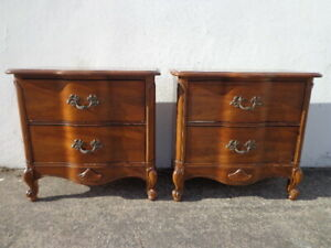 Pair Of Nightstands French Provincial Set Of Wood Bedside Tables Vintage Bedroom