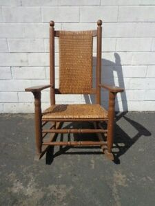 Antique Rocking Chair Rocker Armchair Woven Rush Mission Rustic Traditional