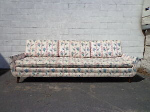 Mid Century Modern Sofa Couch Retro Danish Style Loveseat Seating Wood Legs