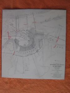 1958 Civil War Map Of Approaches To New Orleans I Combine Shipping