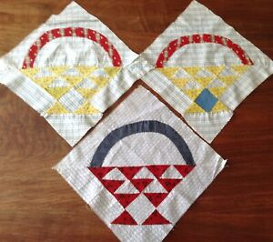 3 Vintage Hand Pieced Quilt Blocks 12 Sq Each Basket Pattern All Cotton V Good