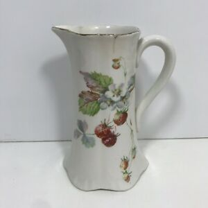 1900 08 Antique Pitcher Sevres Porcelain Vase White Gold Hand Painted Strawberry