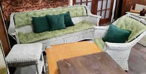 Super Nice Vintage Wicker Couch And Matching Chair With Custom Cushions